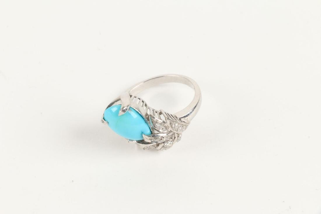 A 14K, Diamond & Turquoise Ring - 7