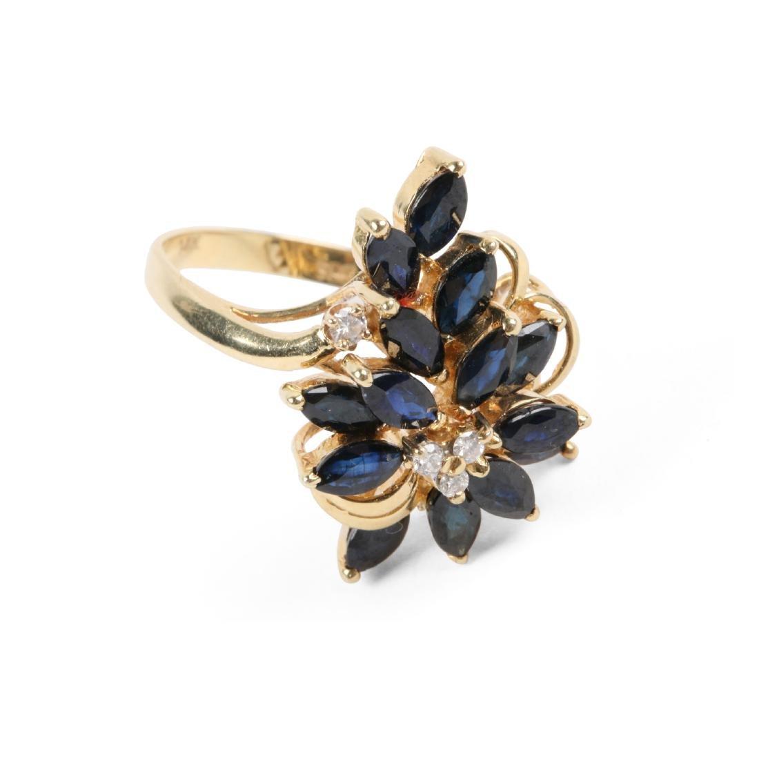 A 14K, Sapphire & Diamond Ring