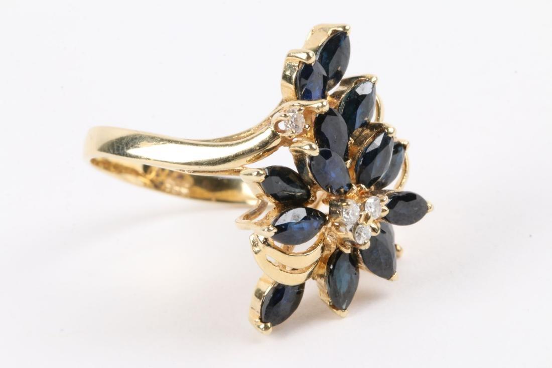 A 14K, Sapphire & Diamond Ring - 2