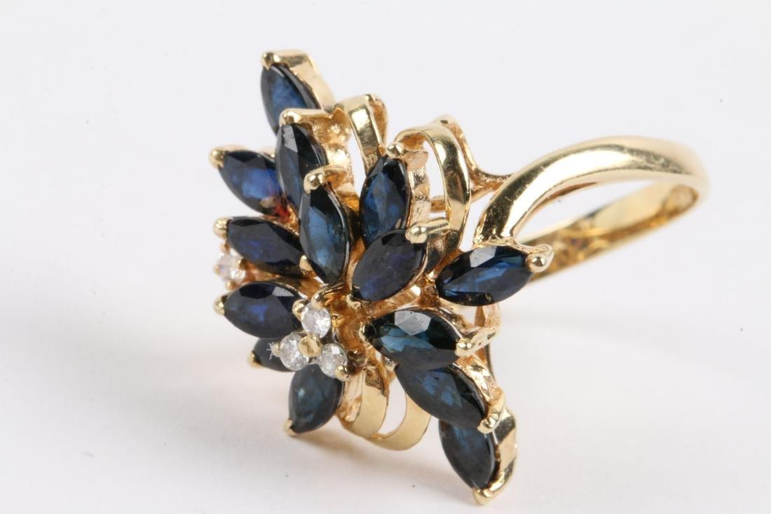 A 14K, Sapphire & Diamond Ring - 3