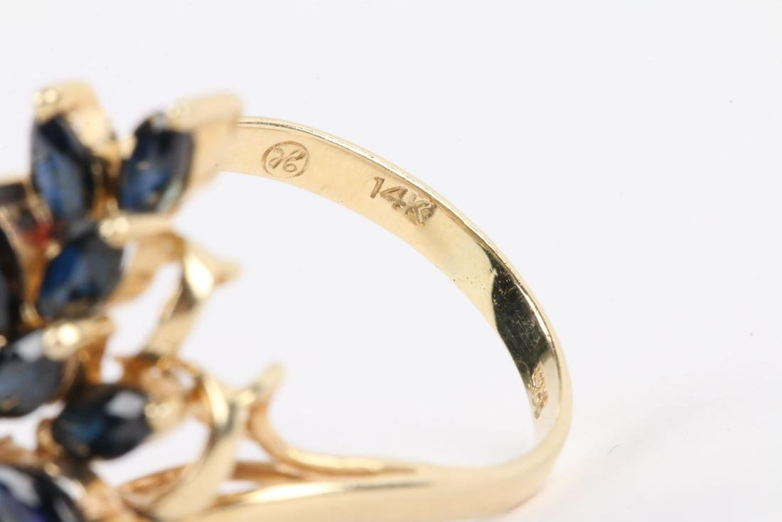 A 14K, Sapphire & Diamond Ring - 6