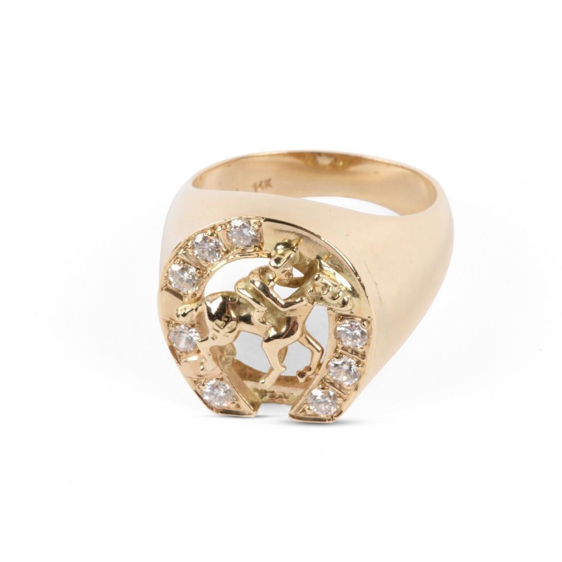 A Gent's 14K Gold & Diamond Jockey Ring