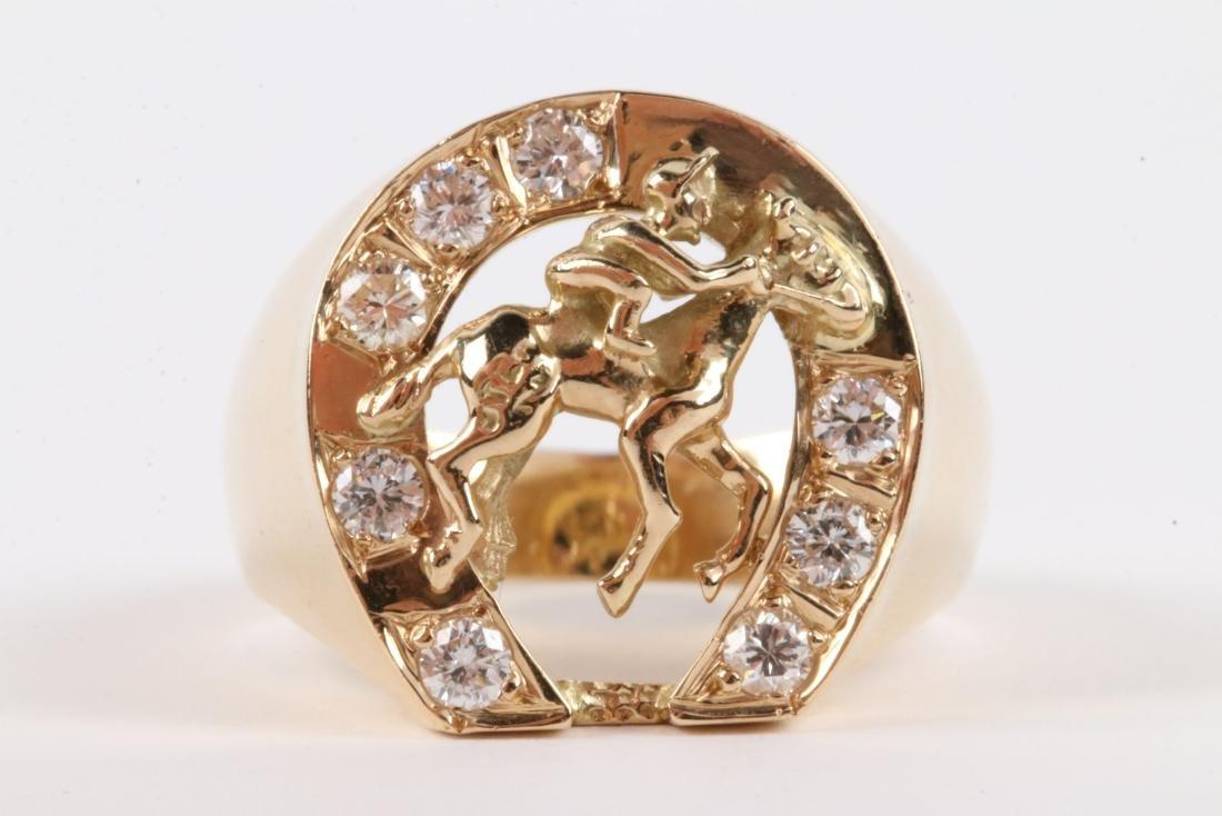 A Gent's 14K Gold & Diamond Jockey Ring - 2