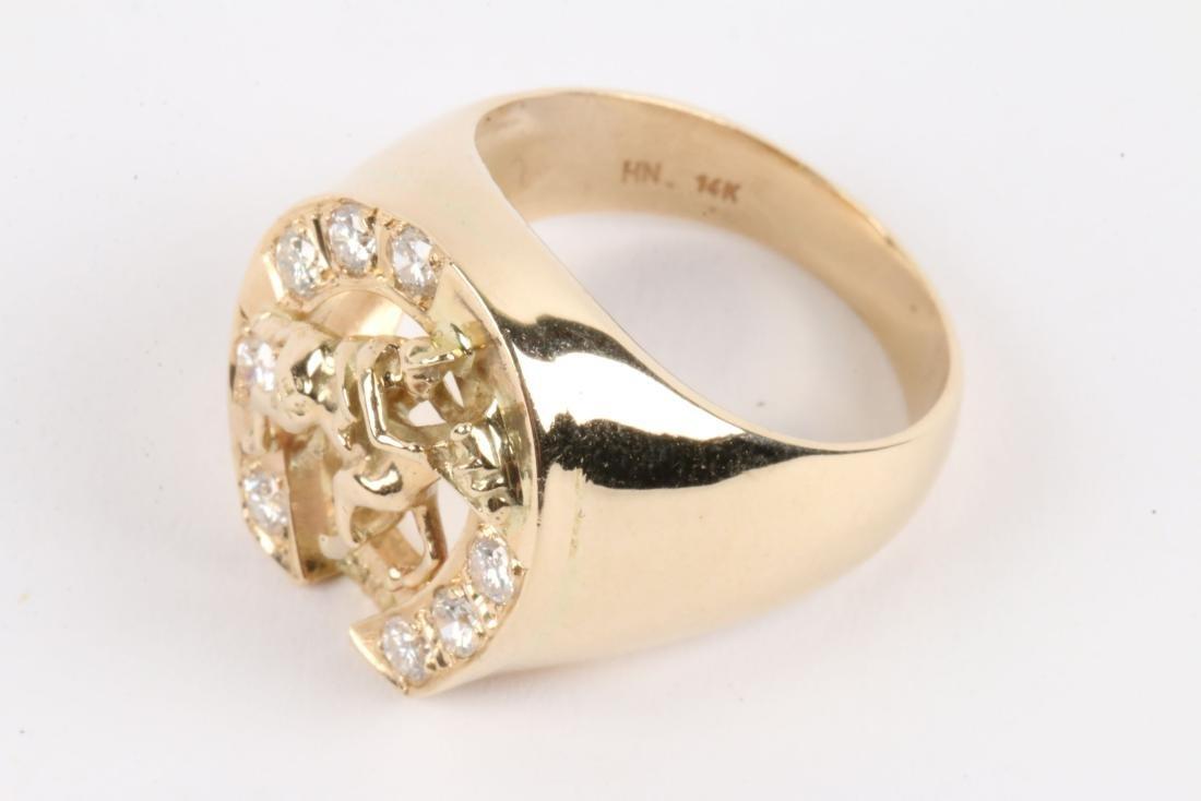 A Gent's 14K Gold & Diamond Jockey Ring - 3