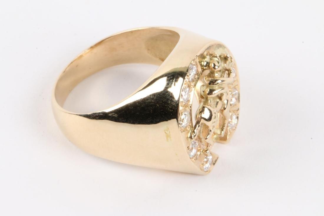 A Gent's 14K Gold & Diamond Jockey Ring - 4