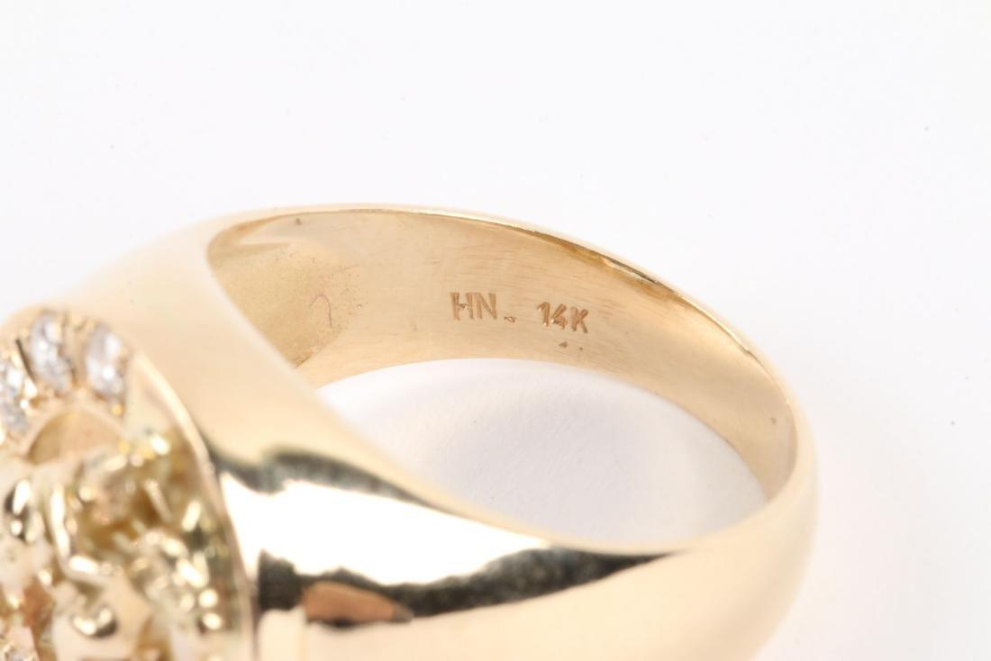 A Gent's 14K Gold & Diamond Jockey Ring - 5