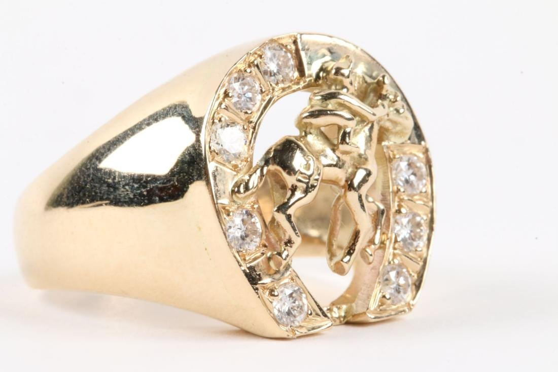 A Gent's 14K Gold & Diamond Jockey Ring - 7