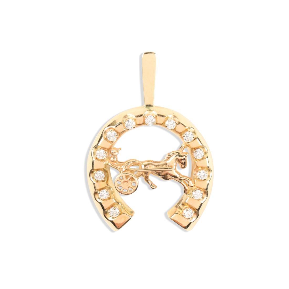 A 14K Gold & Diamond Jockey Pendant