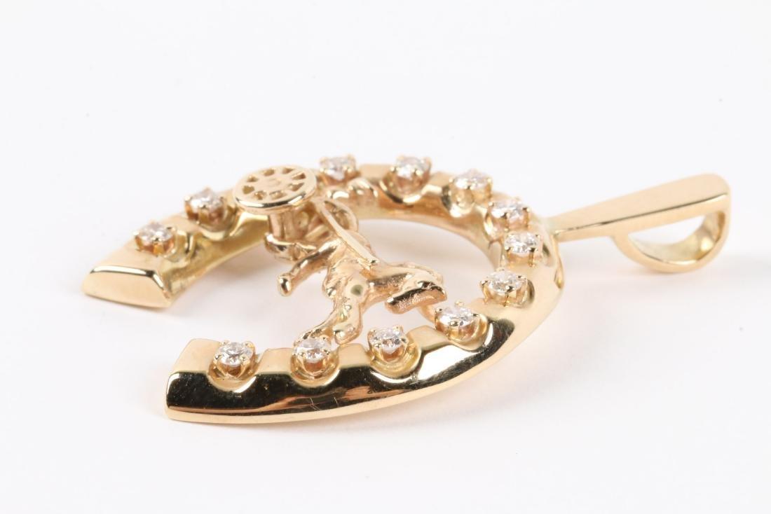 A 14K Gold & Diamond Jockey Pendant - 2