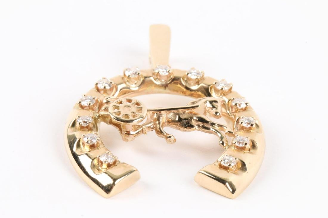 A 14K Gold & Diamond Jockey Pendant - 3