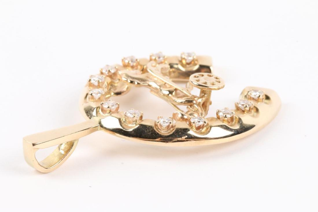 A 14K Gold & Diamond Jockey Pendant - 4