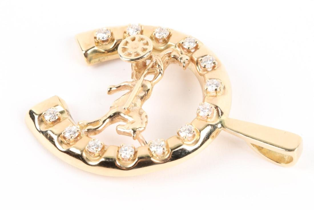 A 14K Gold & Diamond Jockey Pendant - 8