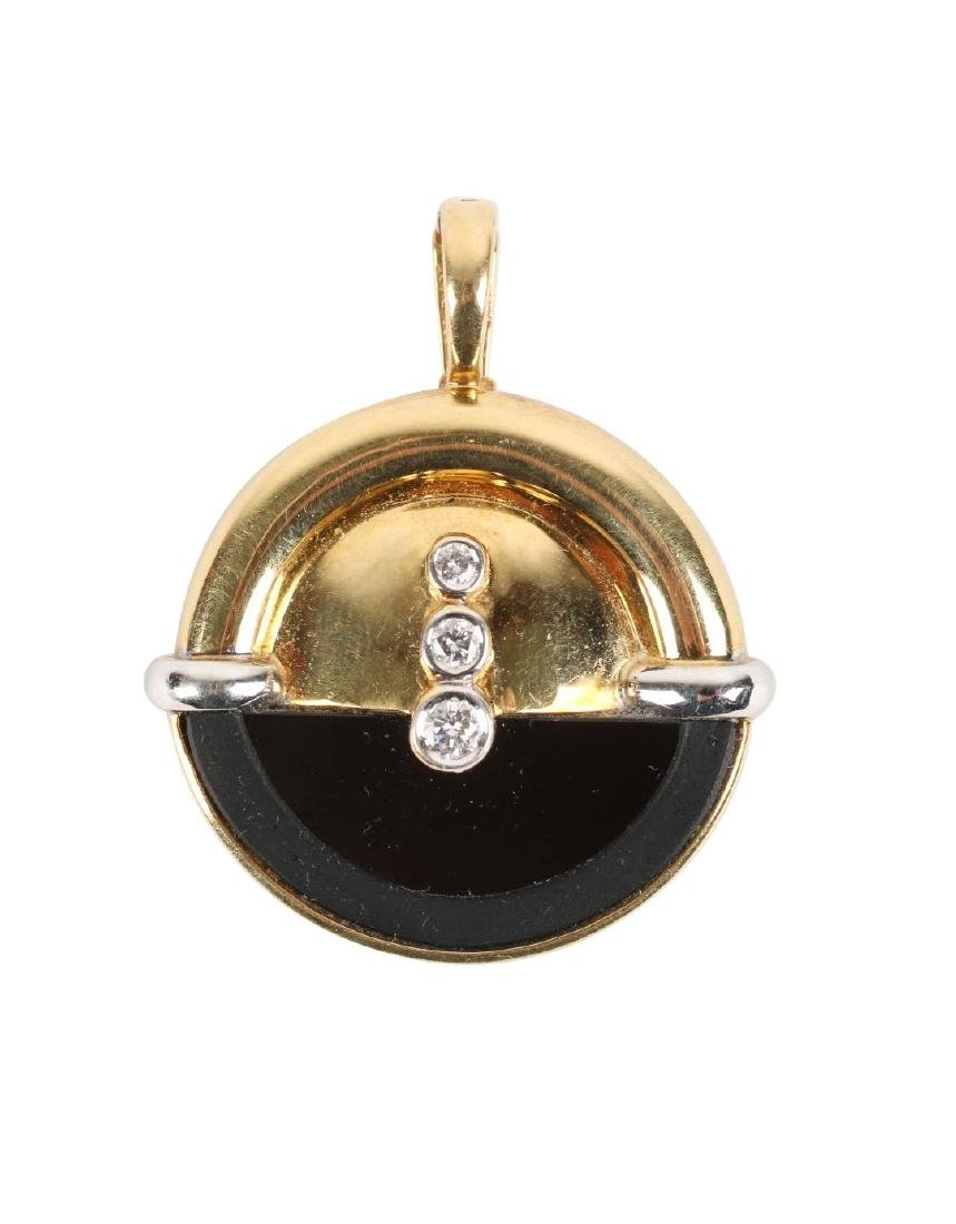 A Thomas 18K, Diamond & Onyx Pendant