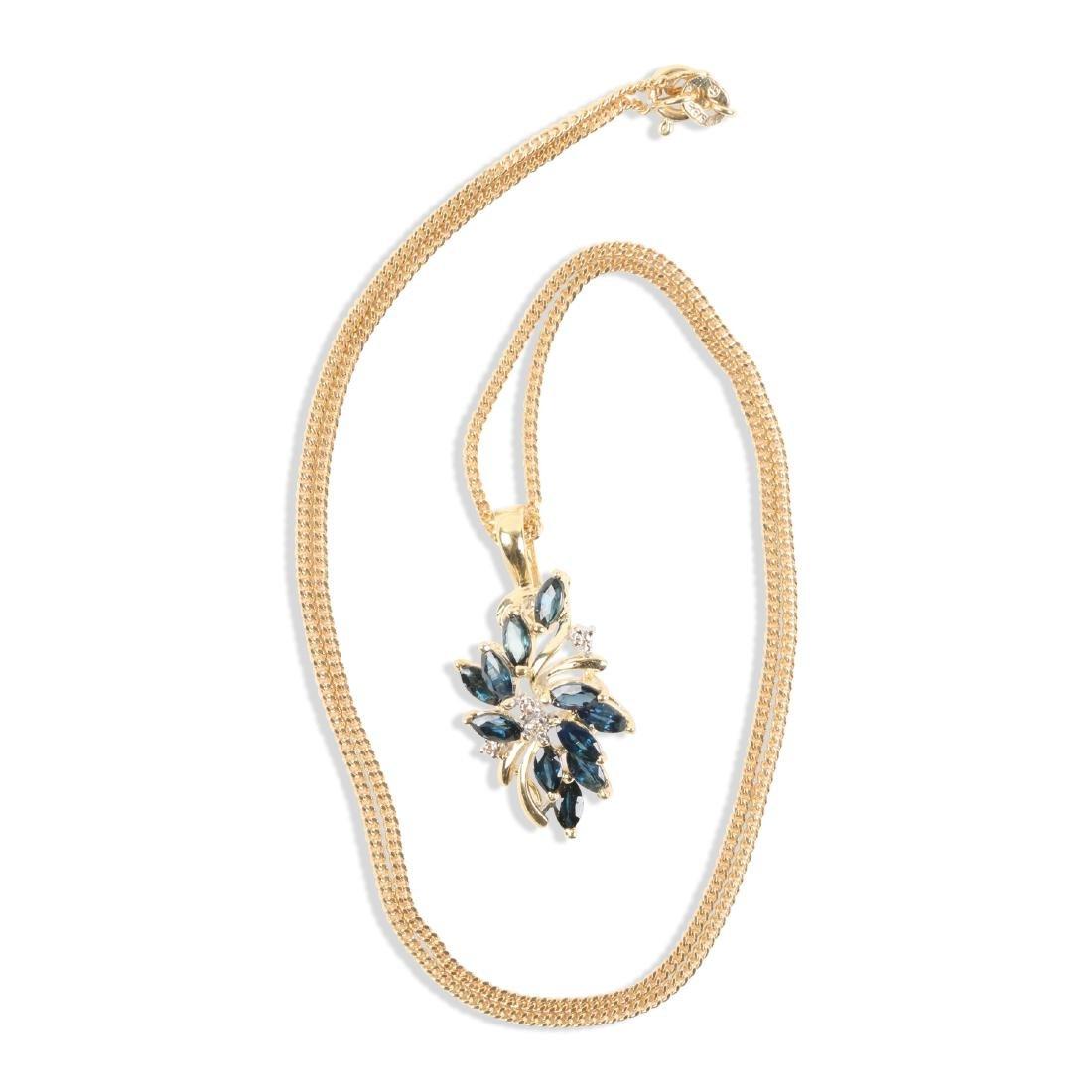 A 14K Gold, Sapphire & Diamond Chain, Pendant