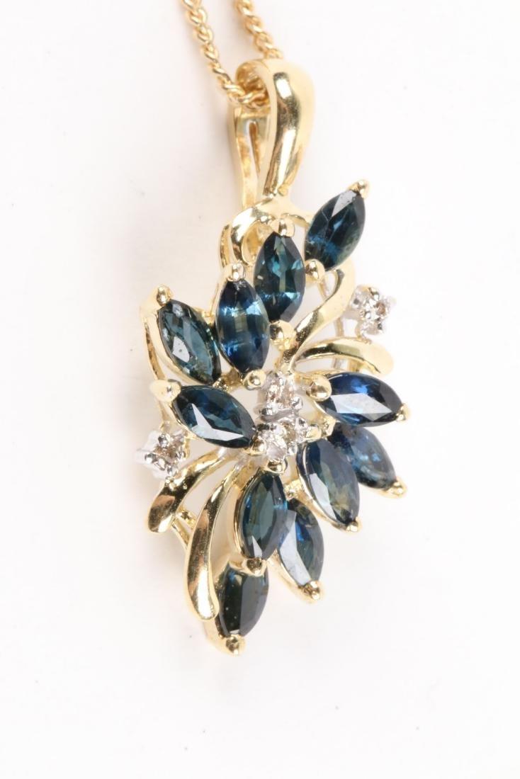 A 14K Gold, Sapphire & Diamond Chain, Pendant - 2