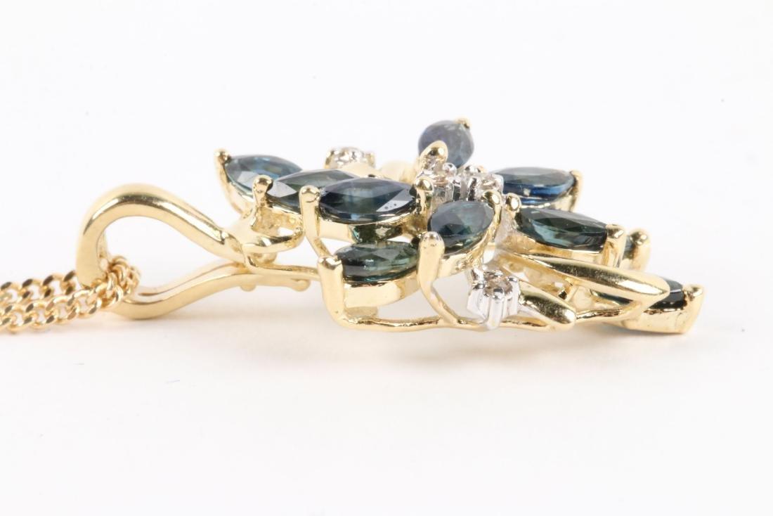 A 14K Gold, Sapphire & Diamond Chain, Pendant - 3