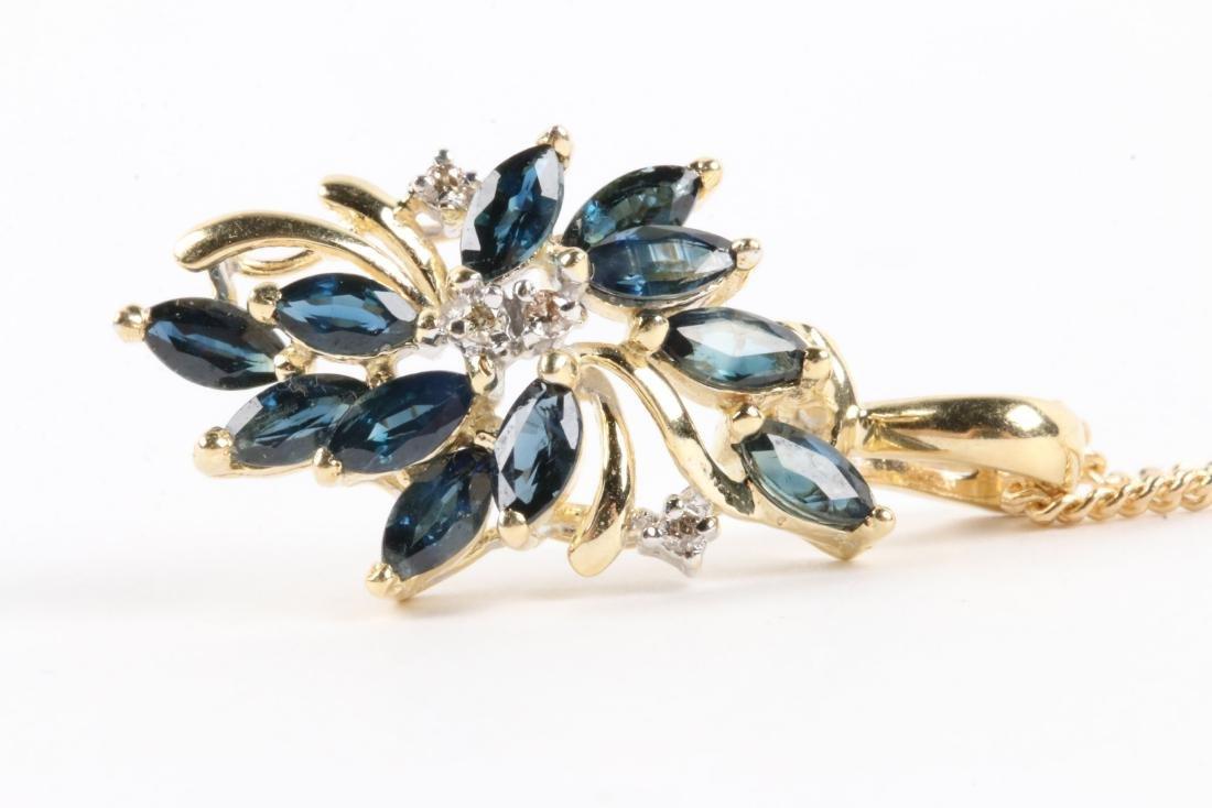 A 14K Gold, Sapphire & Diamond Chain, Pendant - 4