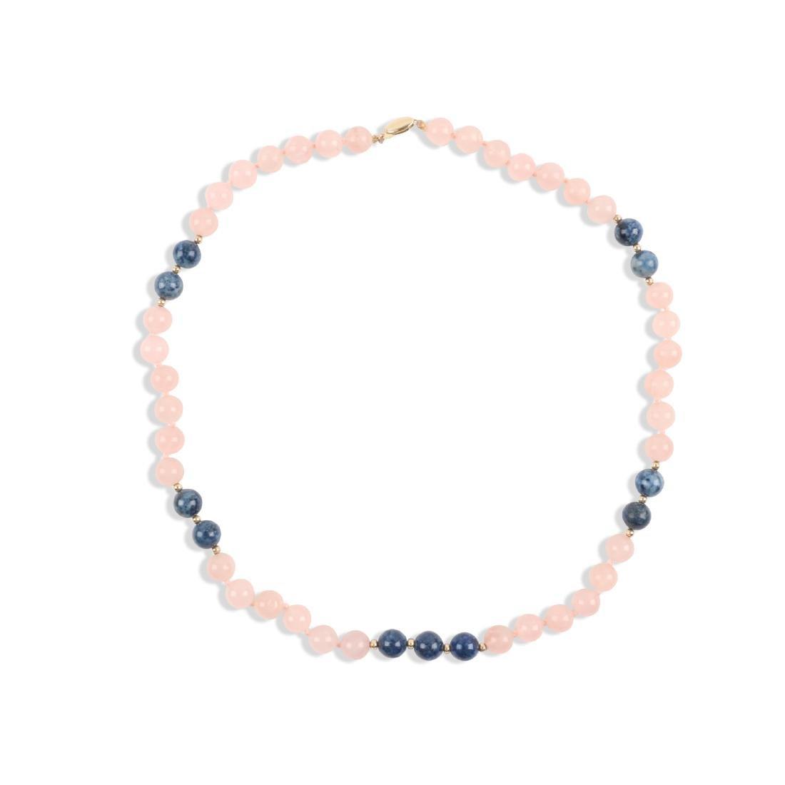 A Rose Quartz & Lapis Lazuli Beaded Necklace