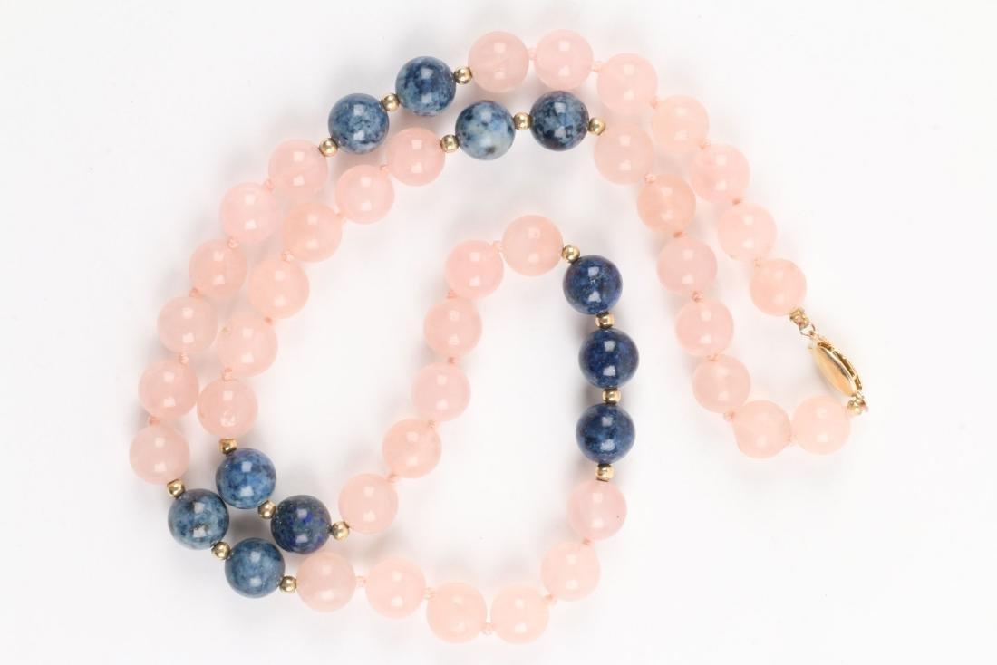 A Rose Quartz & Lapis Lazuli Beaded Necklace - 2