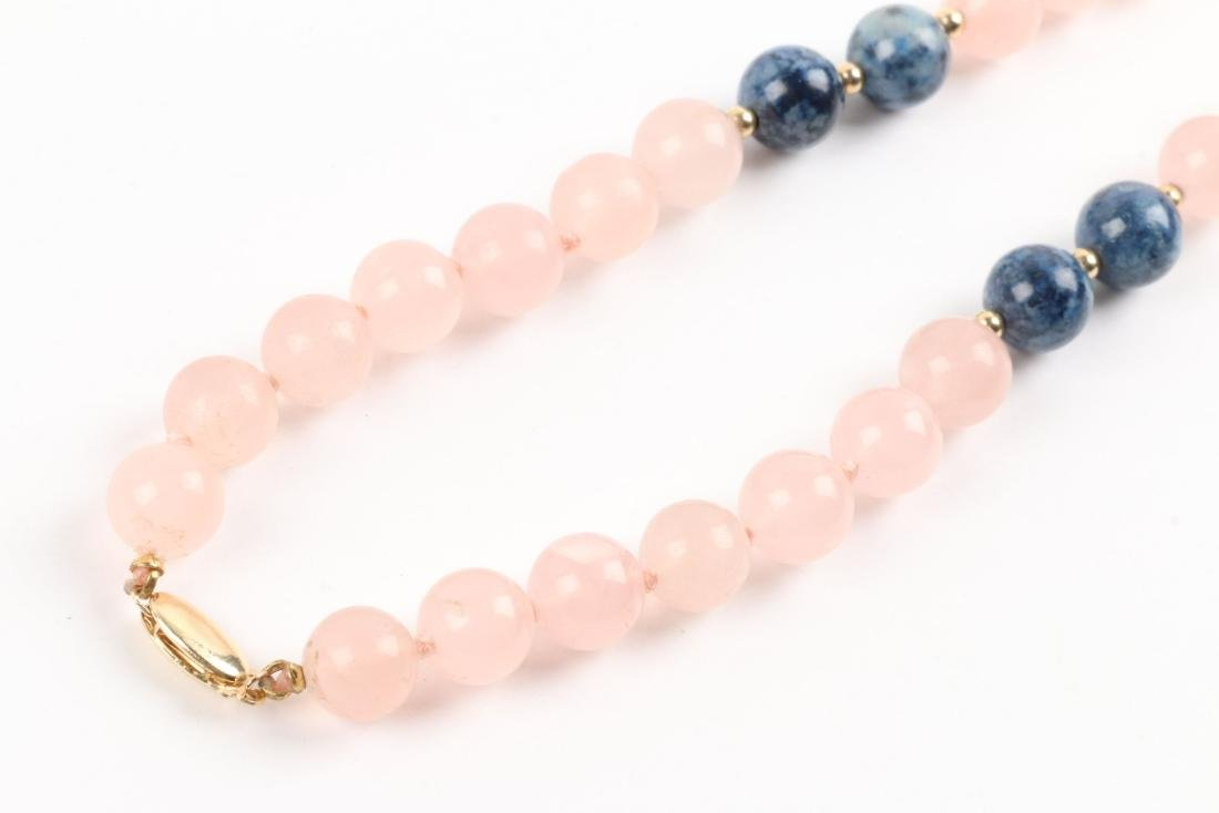 A Rose Quartz & Lapis Lazuli Beaded Necklace - 3
