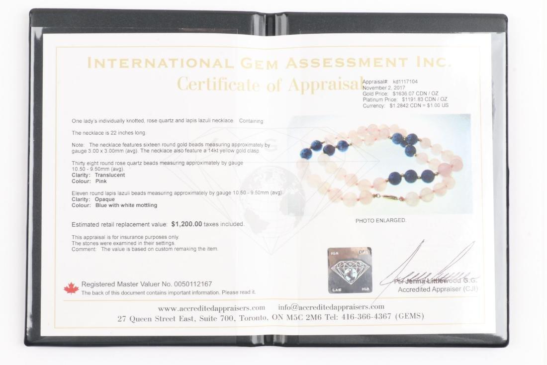 A Rose Quartz & Lapis Lazuli Beaded Necklace - 7