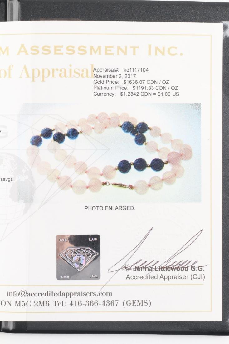 A Rose Quartz & Lapis Lazuli Beaded Necklace - 9
