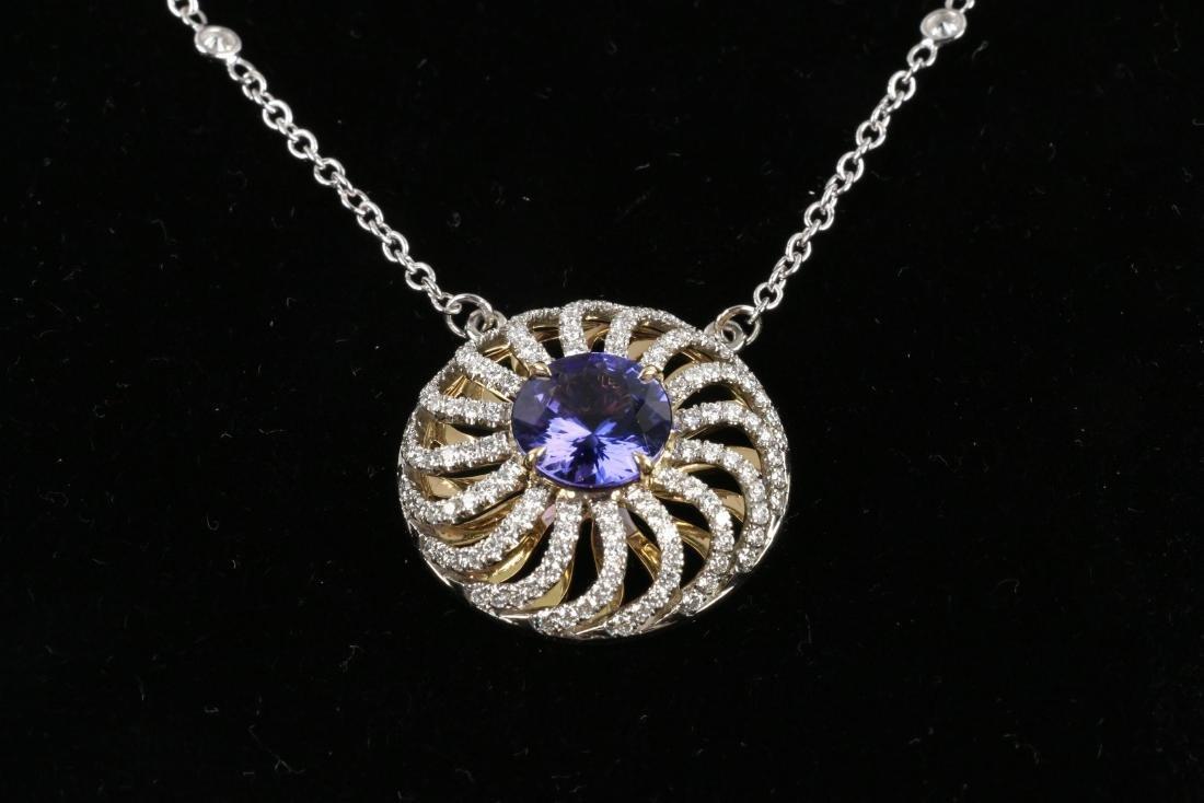 A Custom 18k, Diamond & Tanzanite Necklace - 3