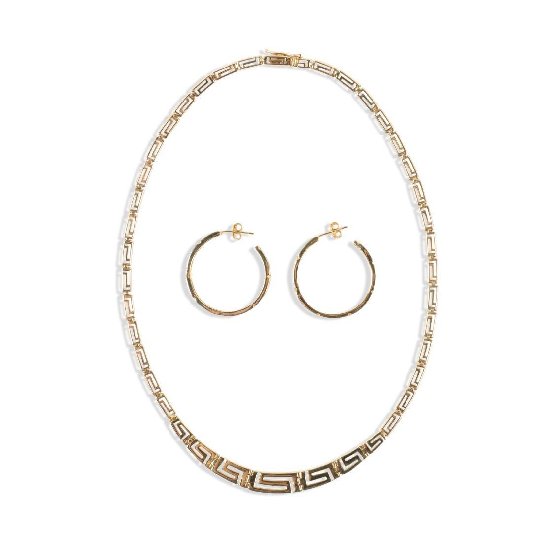 A Greek Style 14K Gold Necklace, Earrings Set