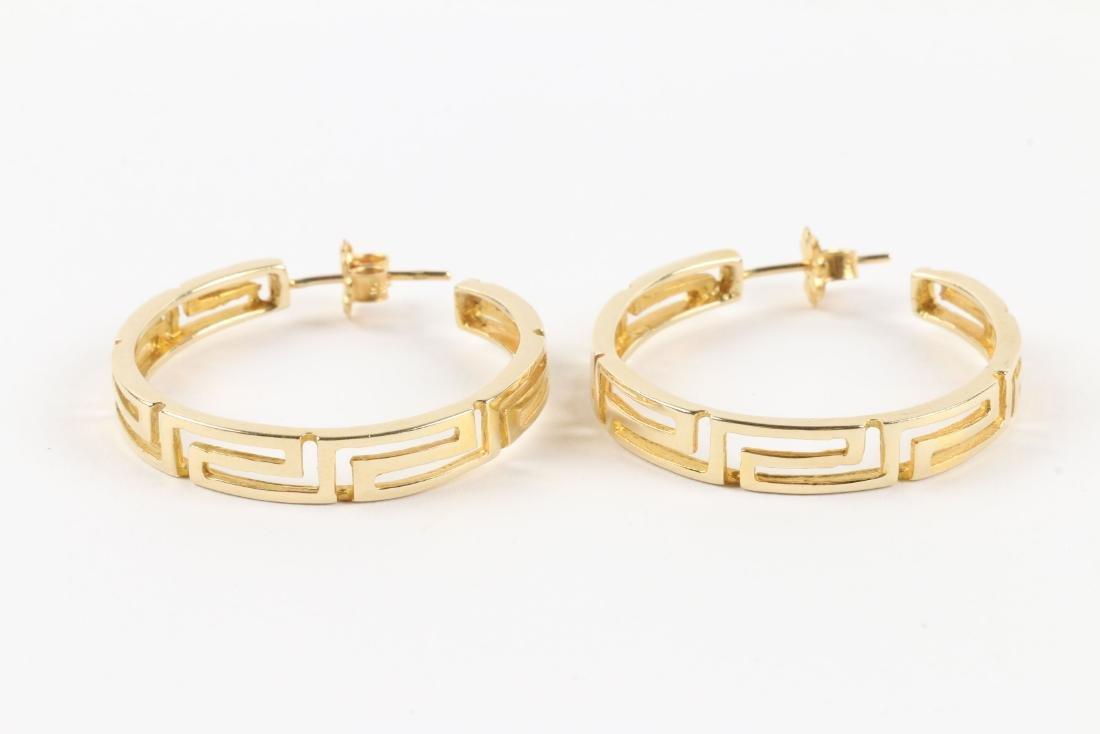 A Greek Style 14K Gold Necklace, Earrings Set - 3