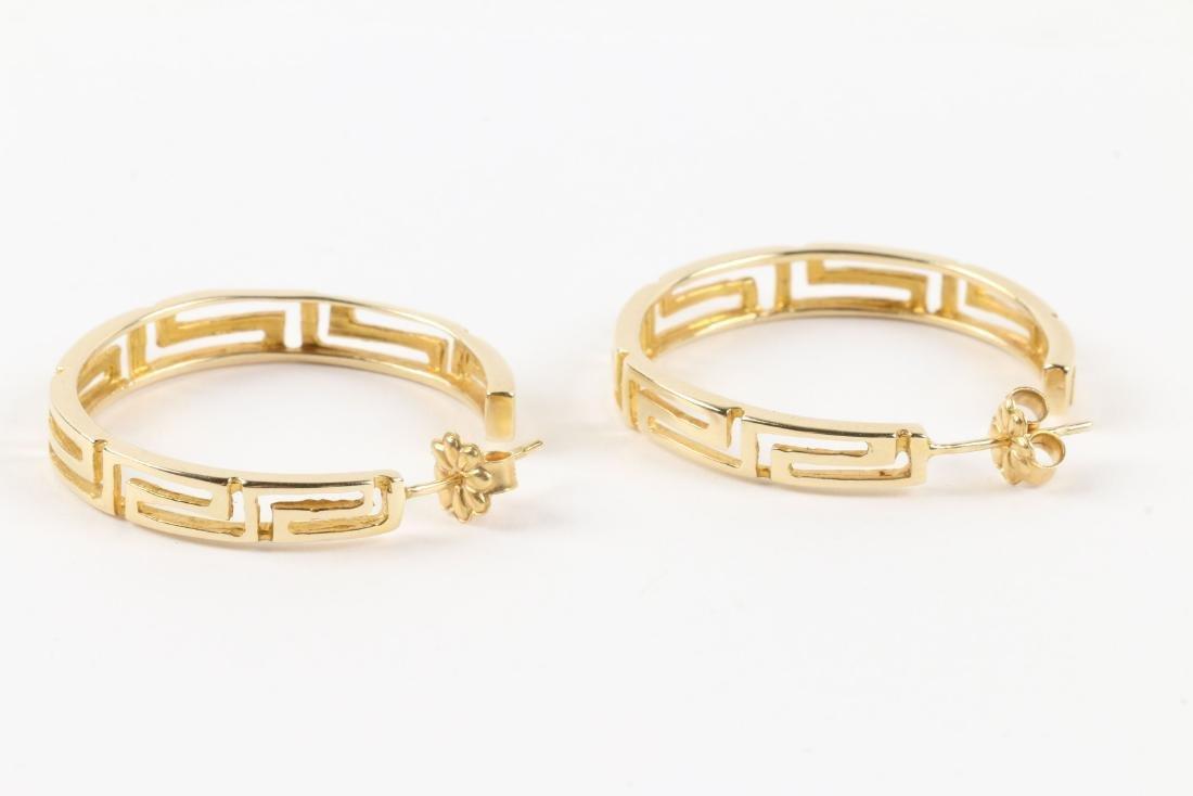 A Greek Style 14K Gold Necklace, Earrings Set - 4