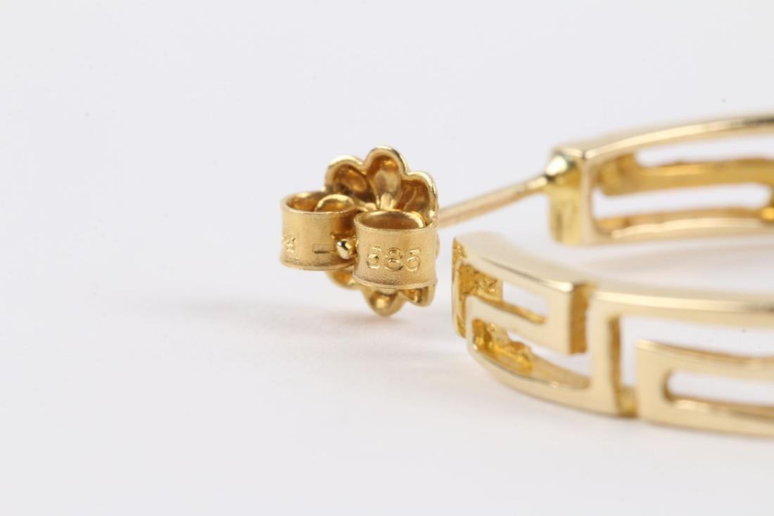 A Greek Style 14K Gold Necklace, Earrings Set - 5