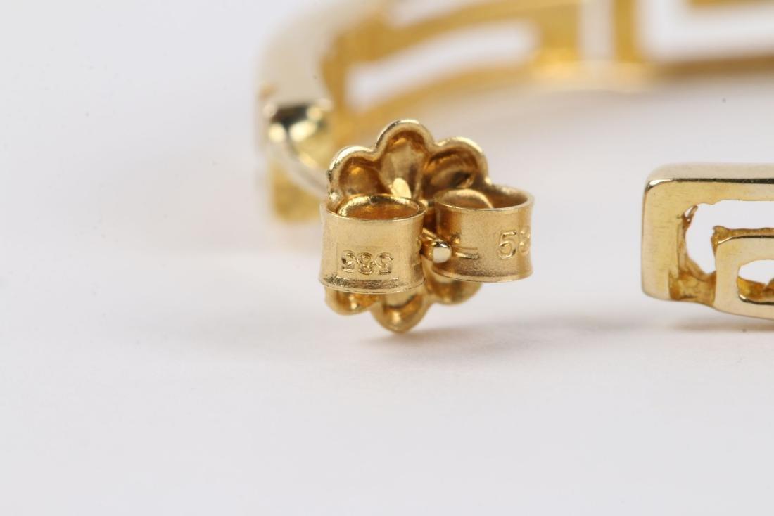 A Greek Style 14K Gold Necklace, Earrings Set - 6
