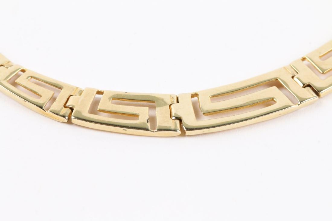 A Greek Style 14K Gold Necklace, Earrings Set - 7