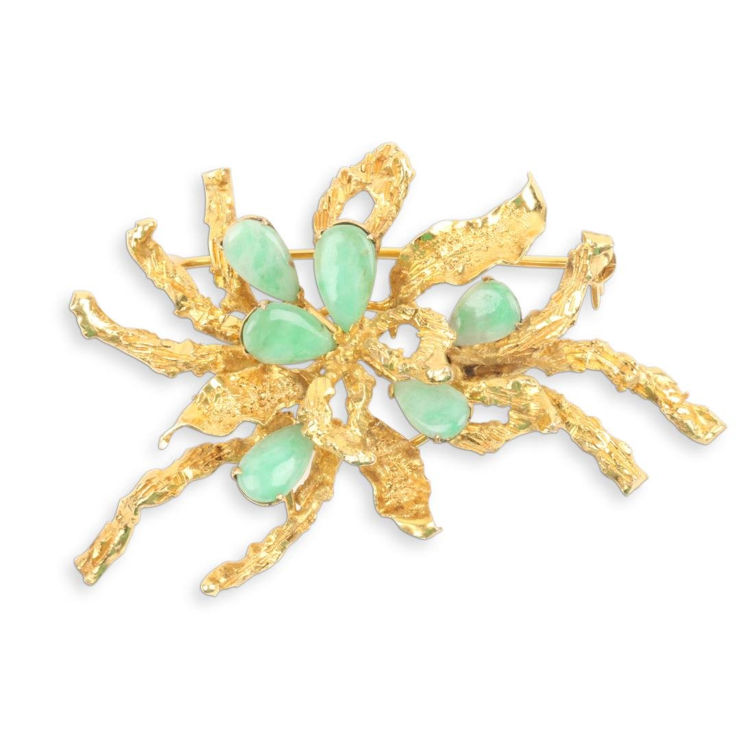 A Chinese 14K Gold & Jade Brooch