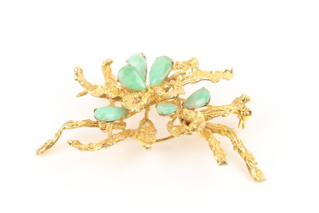 A Chinese 14K Gold & Jade Brooch - 2