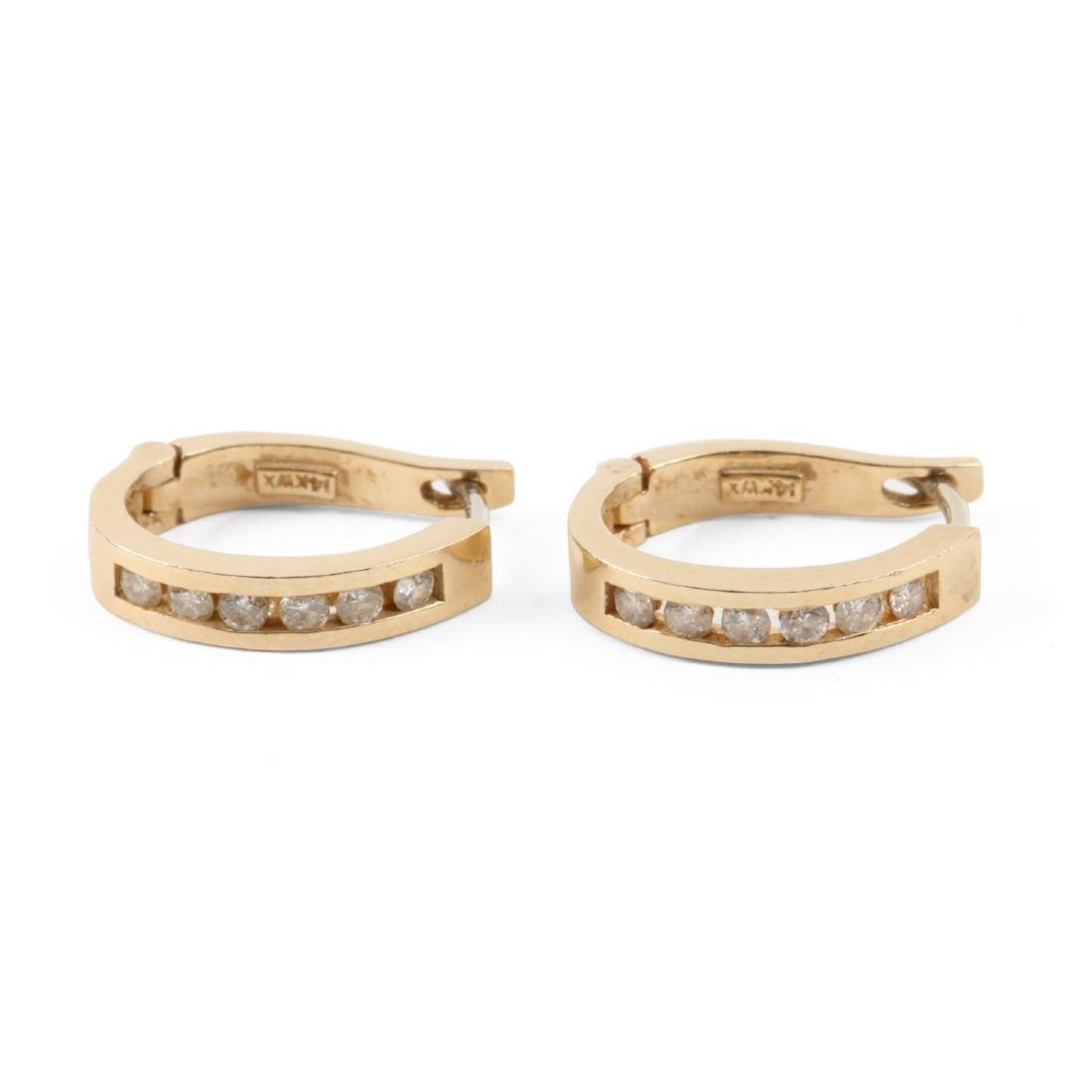 A Pair, 14K Gold & Diamond Loop Earrings