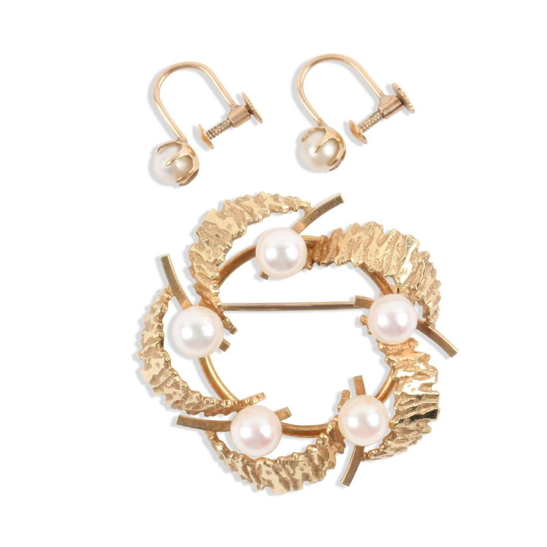An 18K Gold & Pearl Earrings, Brooch Set