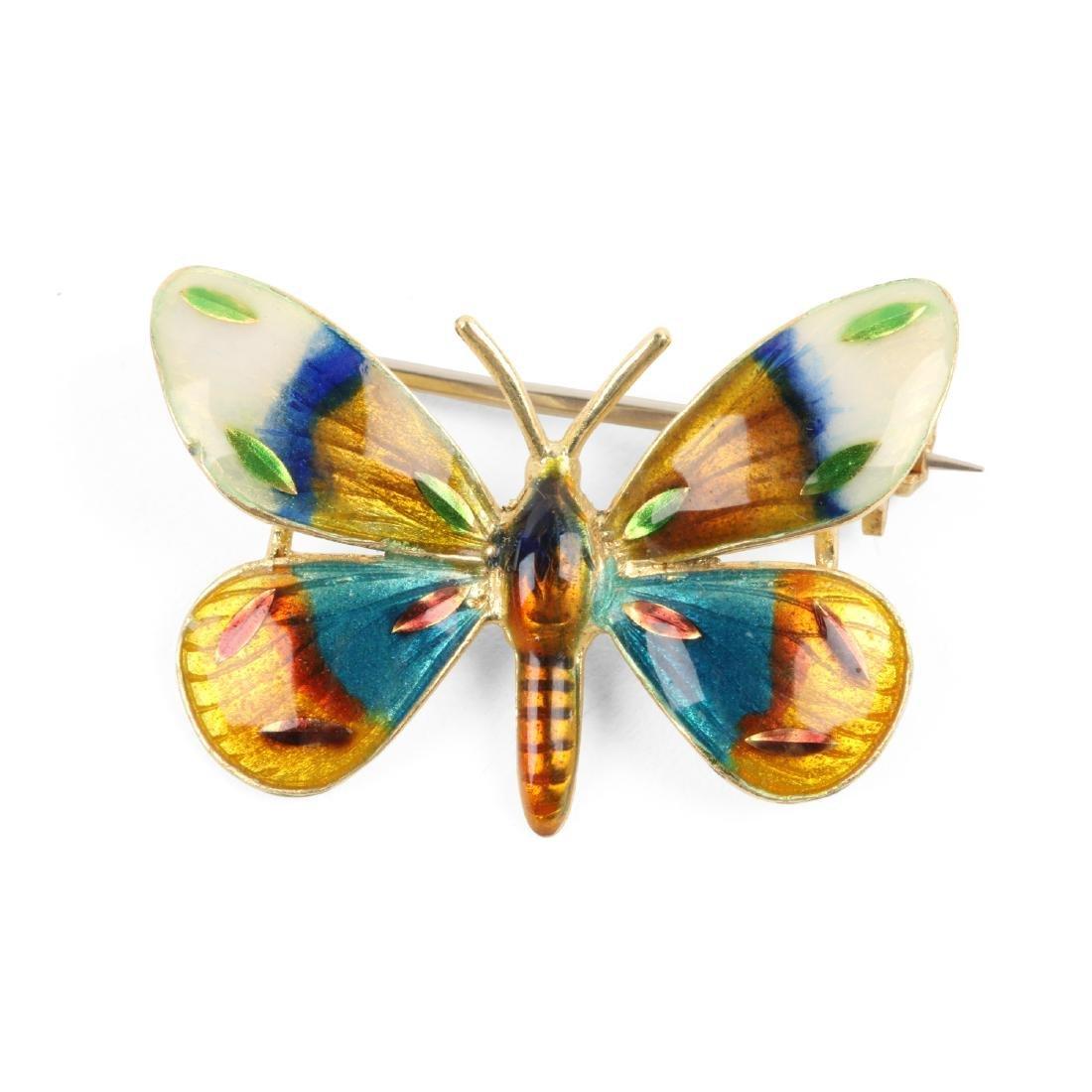 A Danish Enameled 18K Butterfly Pin
