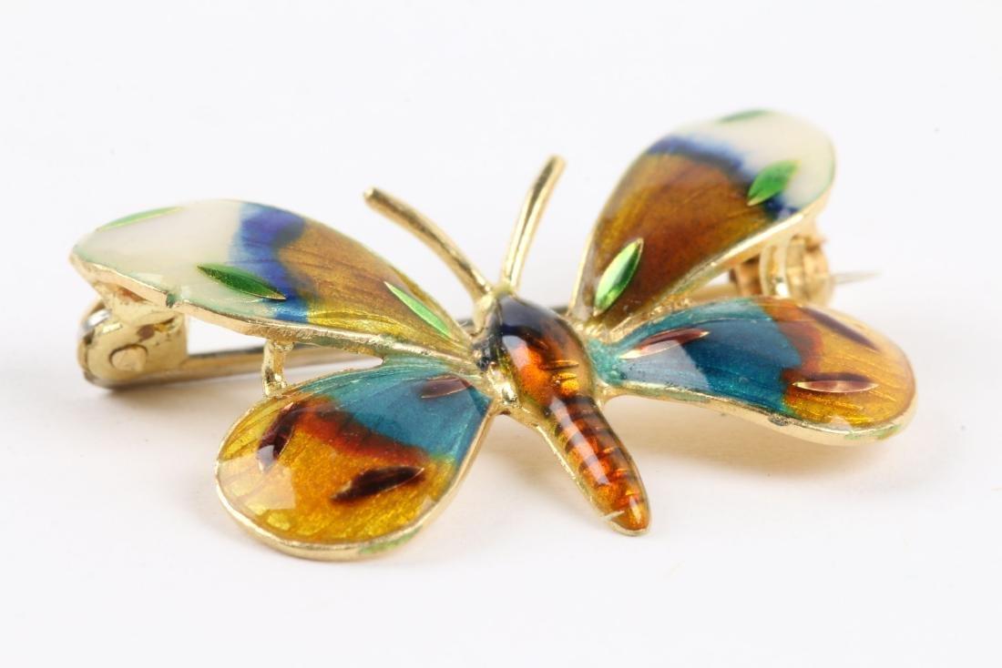 A Danish Enameled 18K Butterfly Pin - 3