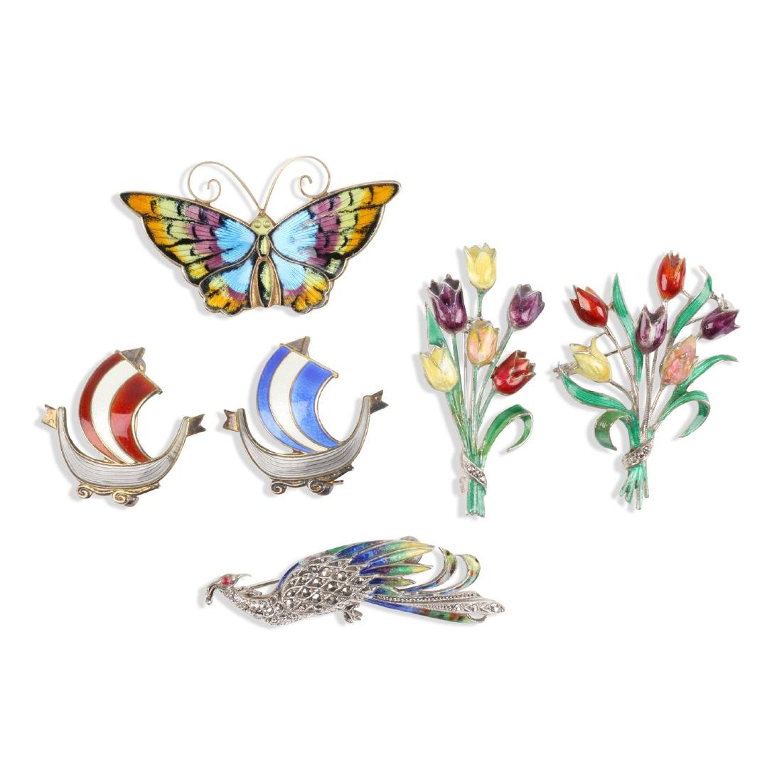 Assorted Enameled Sterling Silver Brooches
