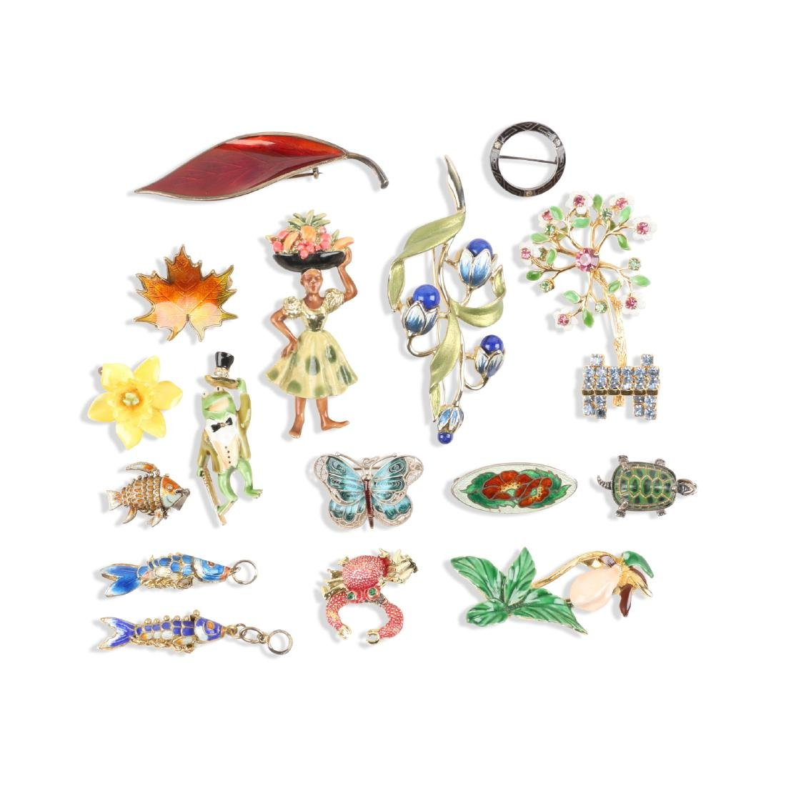 Assorted Enameled Costume Brooches