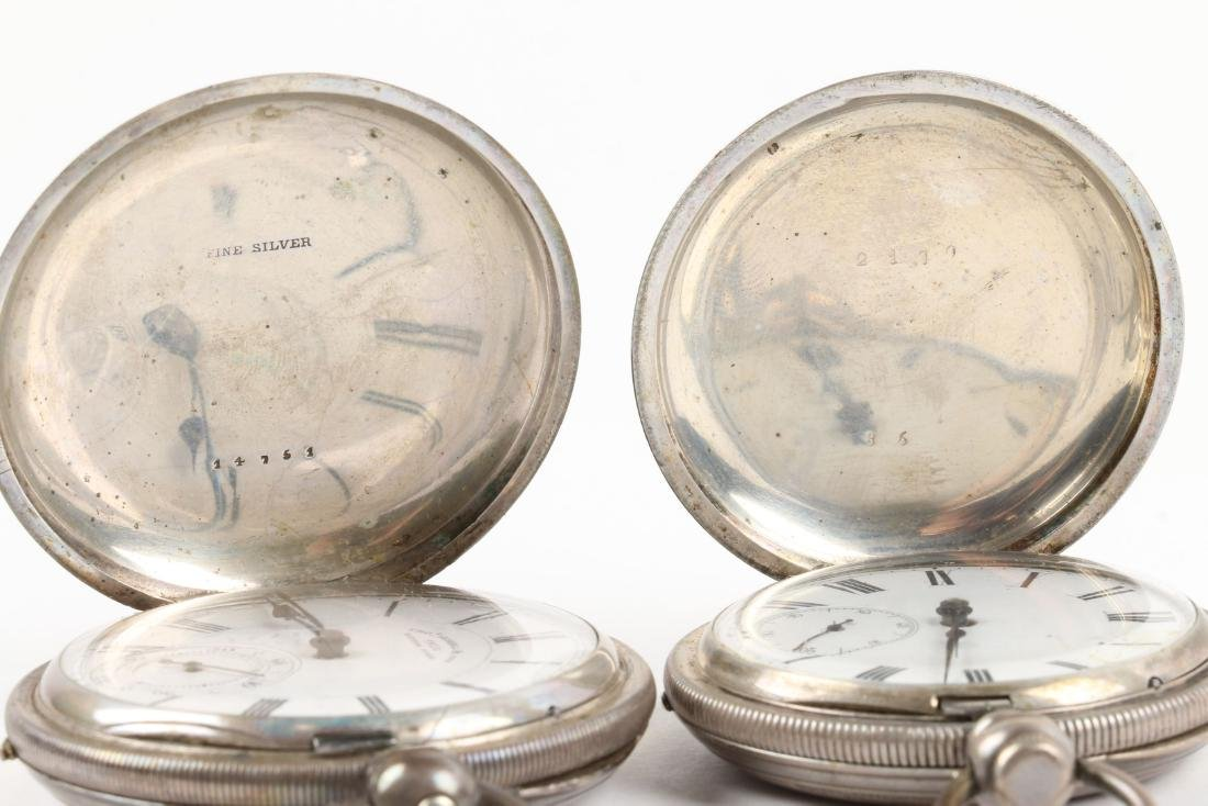 English, Sterling Silver Pocket Watches - 4