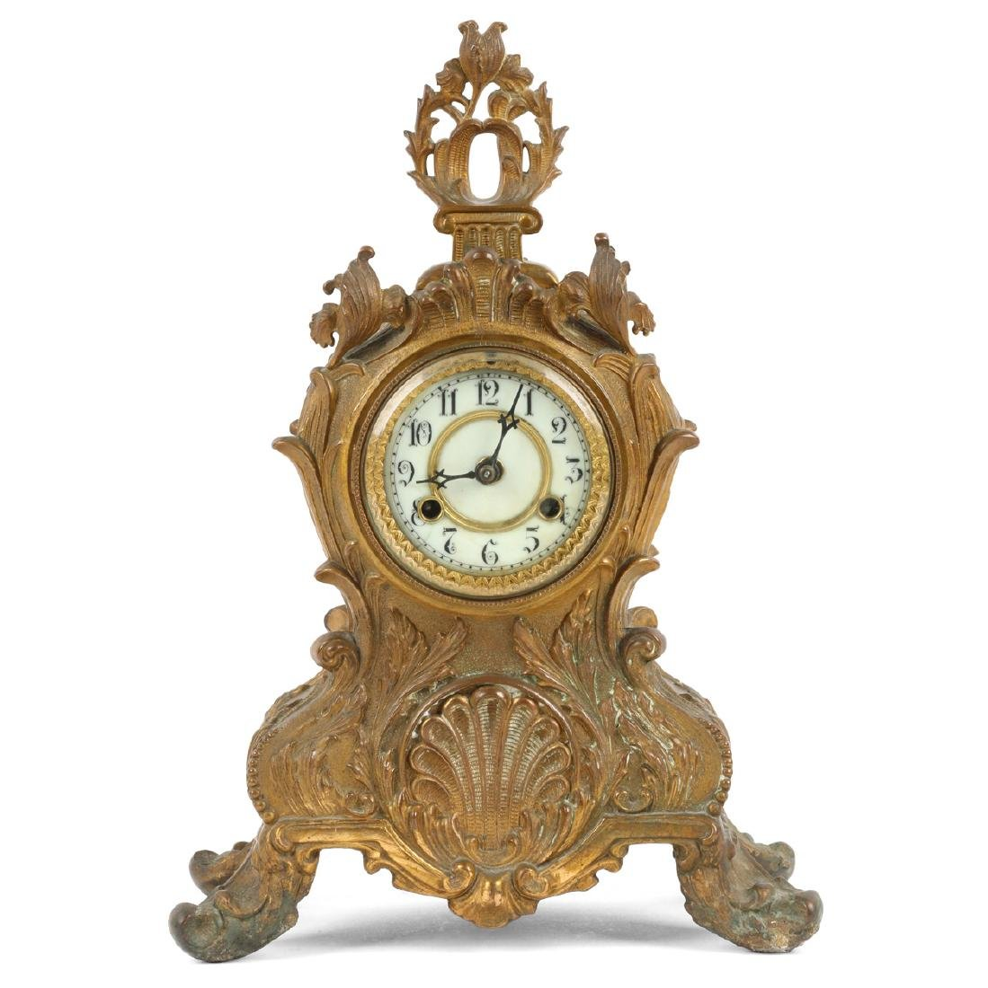 Victorian Cast Brass Mantel Clock