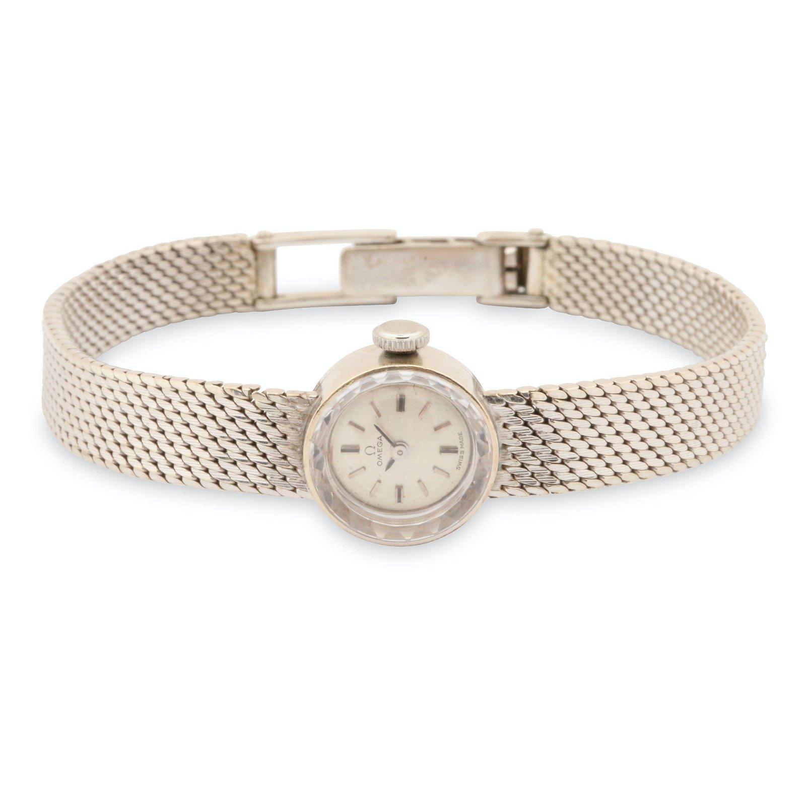 Omega, 14K White Gold Ladies Cocktail Wristwatch