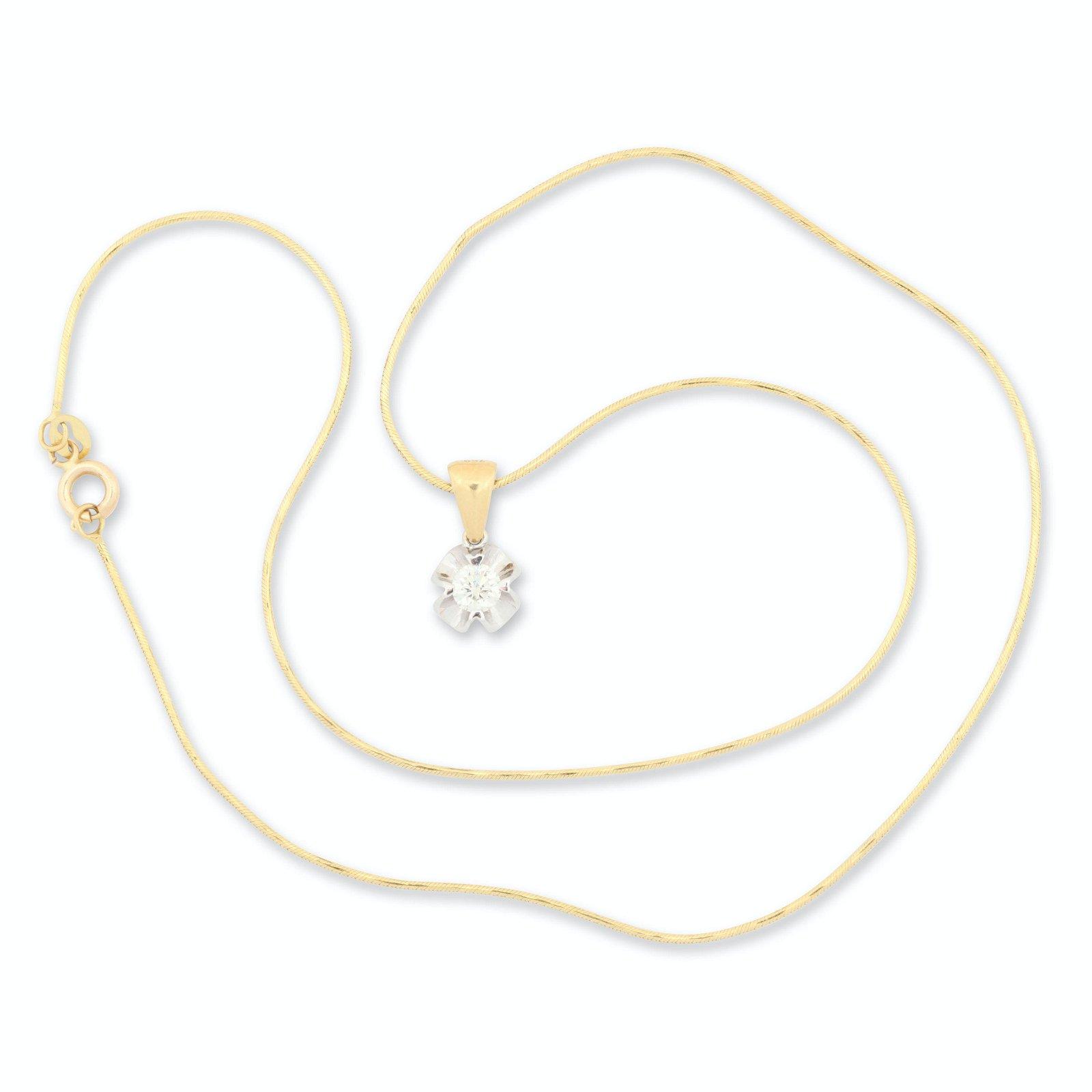 18K Yellow & White Gold Diamond Pendant Necklace