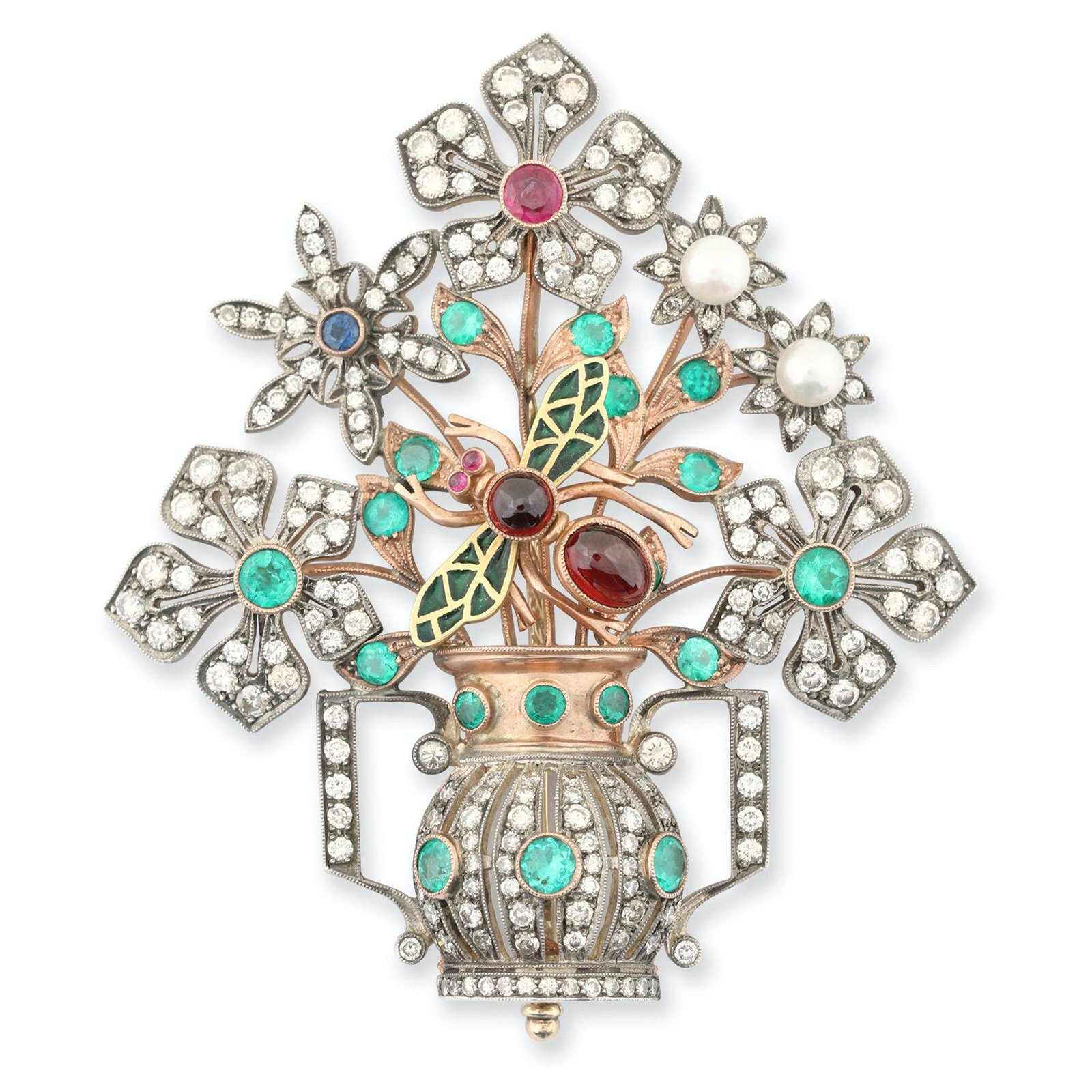 14K Gold Figural Mixed Stone Brooch
