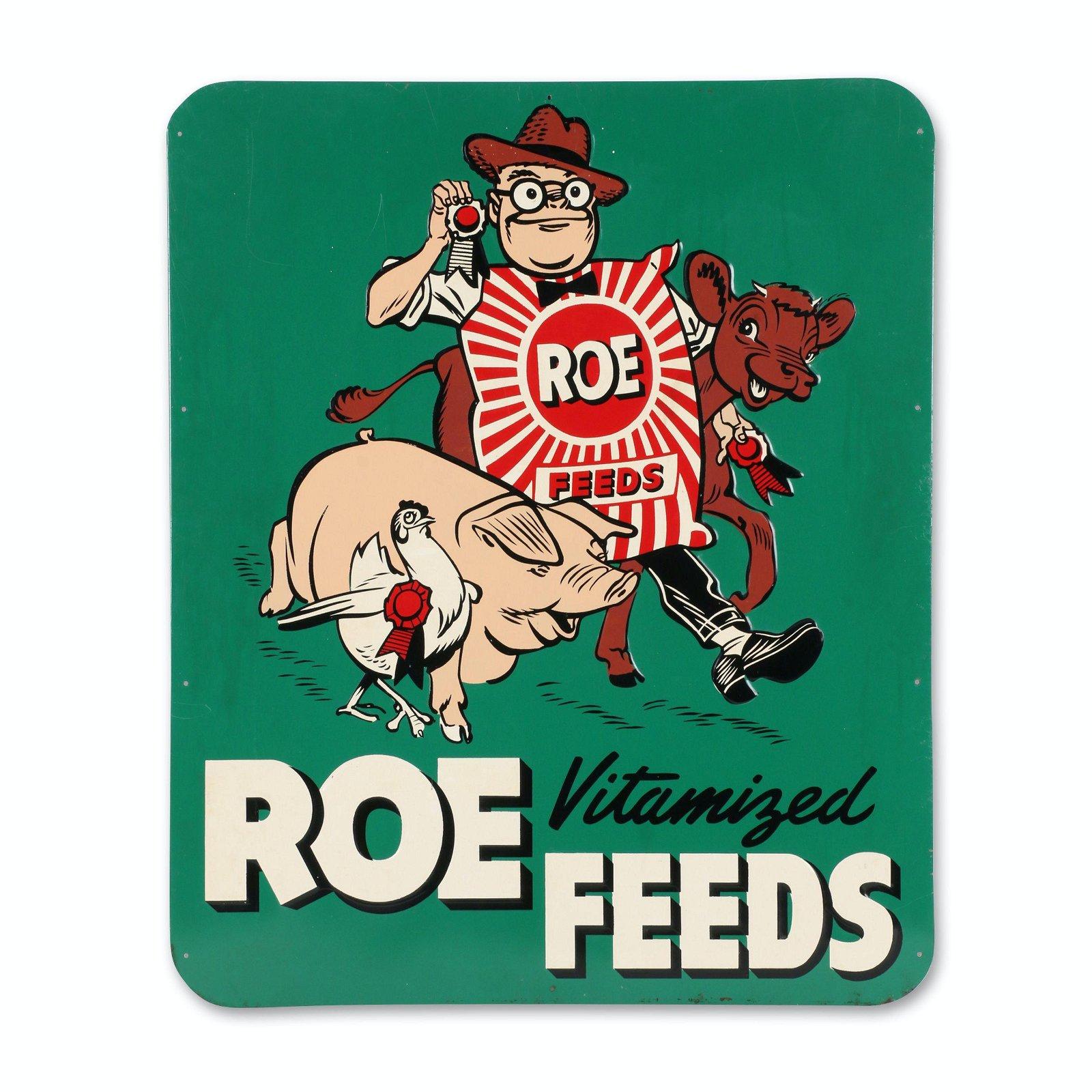 Roe Feeds Tin Litho Sign