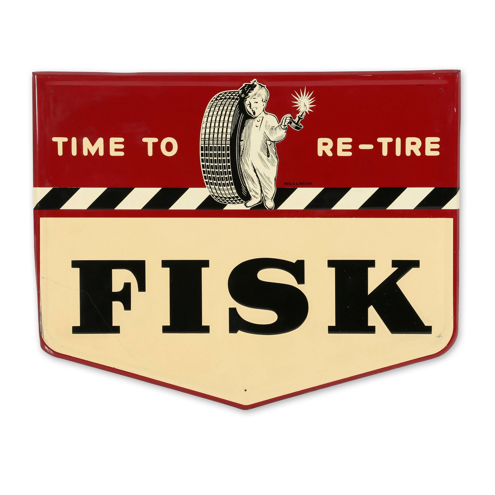 Fisk Tires Die-Cut Embossed Tin Sign