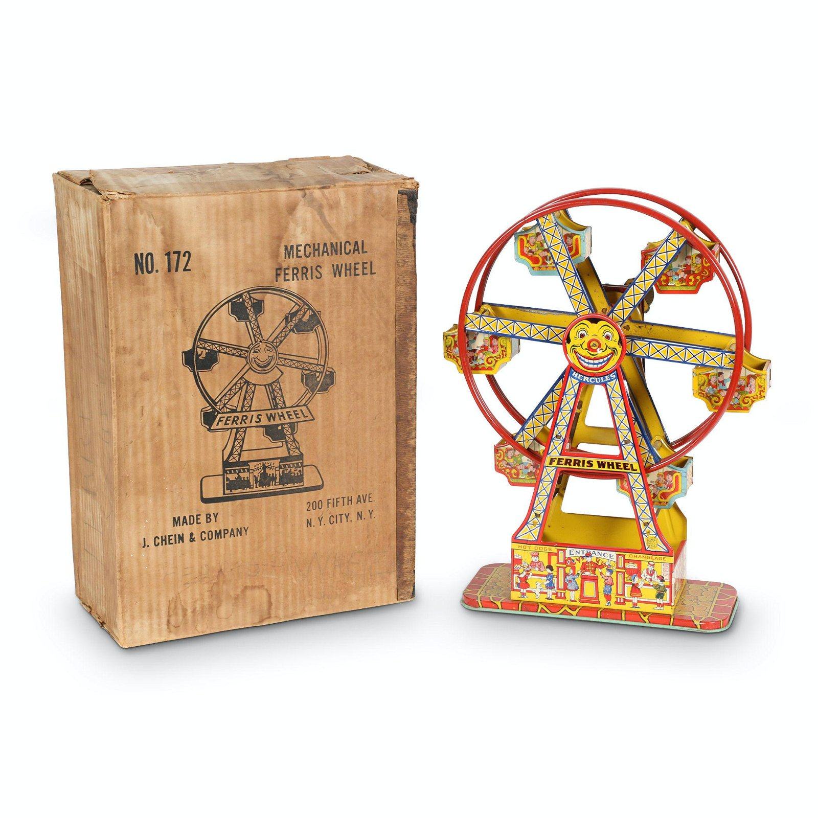 Boxed Chein Tin Litho Mechanical Ferris Wheel