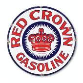 """Red Crown Gasoline 24"""" Porcelain Sign"""